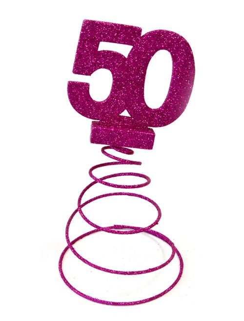 Centre de table pour anniversaire 50 ans - fuschia pailletée