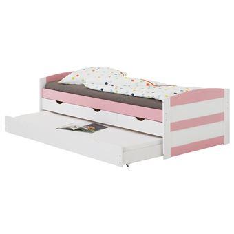 Lit gigogne JESSY lit enfant fonctionnel avec tiroir-lit et rangements 3 tiroirs, couchage 90 x ...