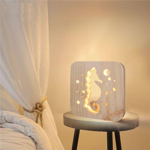Creative Craft Décoration Lampe en bois Led Lumière Veilleuse Lampe de table wedazano440