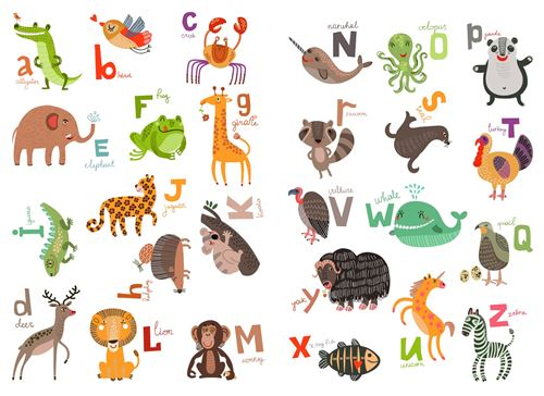 Kids Decor sticker mural alphabet animal 94 x 67 cm