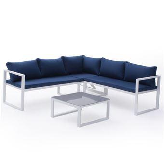 50€ sur Salon de jardin modulable IBIZA en tissu bleu 4 places ...