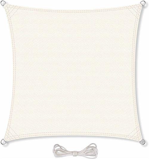 Carasol Voile d'ombrage perméable Pare Soleil Anti-UV UPF 50+ Carré 5 x 5 m Blanc crème