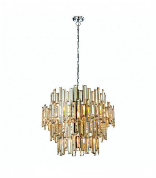 Suspension Viviana, chrome et cristal, 15 ampoules