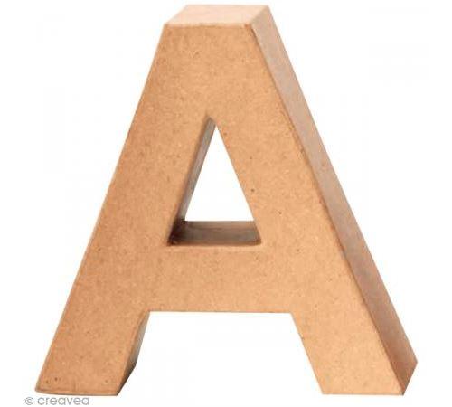 Lettre en carton A qui tient debout - 17,5 x 17,5 x 5,5 cm
