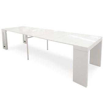 table console extensible chay blanc laqu achat prix fnac - Table Console Extensible Blanc Laque