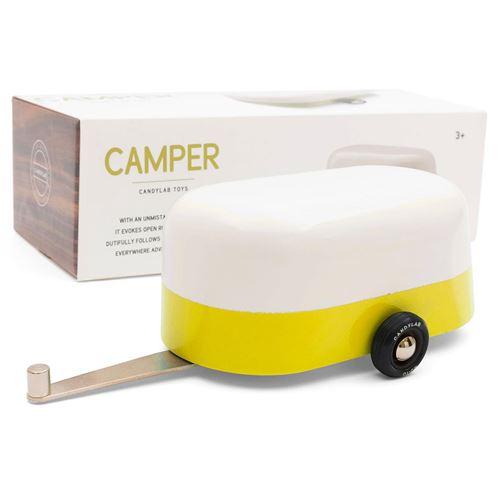 Petites voitures et mini modèles rétro classiques en bois Candylab Americana Véhicules design pour enfants et adultes - Yellow Camper