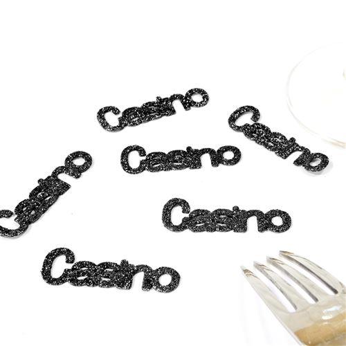 Lot de 60 Confettis de table thème Casino coloris Noir - 5 x 1,5 cm