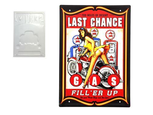 plaque métal déco vintage - effet relief - gas last chance - moto harley station service pin up (30x40cm)