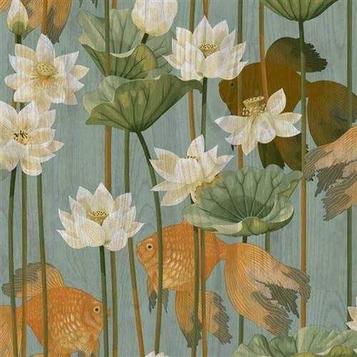 DUTCH WALLCOVERINGS Papier peint Poisson/fleur Vert
