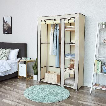 Armoire Chambre Meuble Rangement Pas Cher Beige En Tissu Grande Capacite Achat Prix Fnac