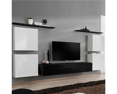 Meuble tv mural blanc et noir DONATELLO-L 320 x P 40 x H 150 cm- Blanc