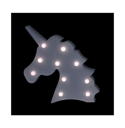 Lampe à led décorative en forme de licorne - L 20,5 x l 3 x H 32,5 cm - Blanc