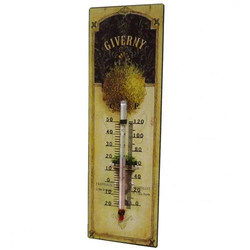 L'Héritier Du Temps - Thermomètre mural décoratif en celsius et farenheit ou à poser motif 'floral ancien' en fer et papier vernis 0,5x8x25cm
