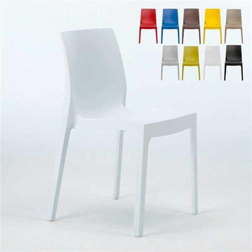Grand Soleil - Chaise en polypropylène empilable Salle à Manger café bar Rome Grand Soleil, Couleur: Blanc