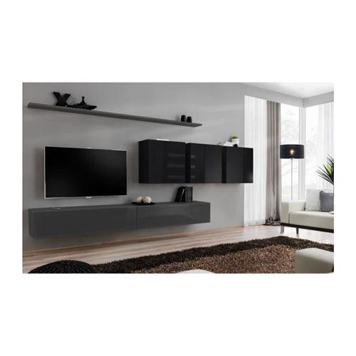Ensemble meuble salon SWITCH VII design, coloris gris et noir brillant.
