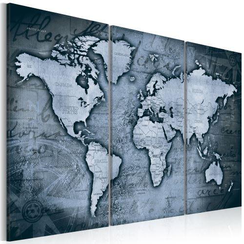 90x60 Tableau Cartes du monde sublime Cobalt Travels