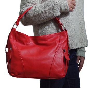 6017217a19 Sac à main cuir rouge Léa - Sacs à main - Achat & prix | fnac