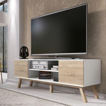 meuble tv vero bois 150cm blanc mat effet ch ne meuble tv achat prix fnac. Black Bedroom Furniture Sets. Home Design Ideas
