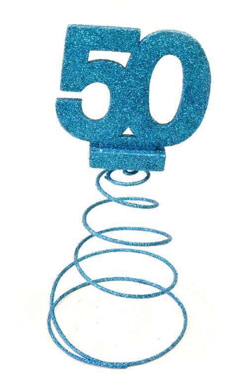 Centre de table pour anniversaire 50 ans - turquoise pailletée