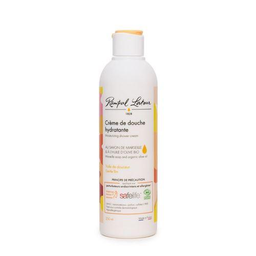 Crème de douche hydratante pour le corps, au savon de marseille et à l'huile d'olive bio, bouteille de 250ml, label SAFELIFE