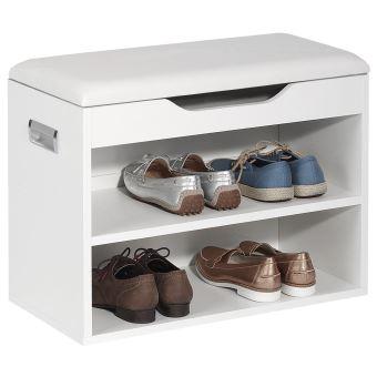 Meuble Chaussure Avec Assise.Meuble A Chaussures Zapato Banc Avec Assise Et 2 Etageres Rangement Pour 6 Paires Decor Blanc Mat
