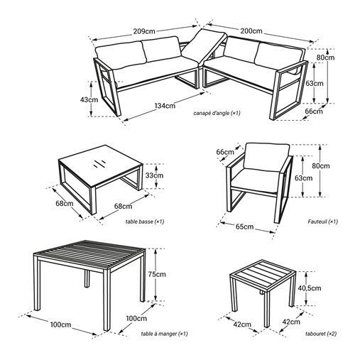 Salon de jardin modulable IBIZA en tissu gris 7 places - aluminum blanc