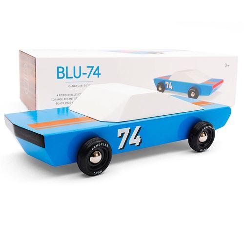 Petites voitures et mini modèles rétro classiques en bois Candylab Americana Véhicules design pour enfants et adultes - Blu74 racer