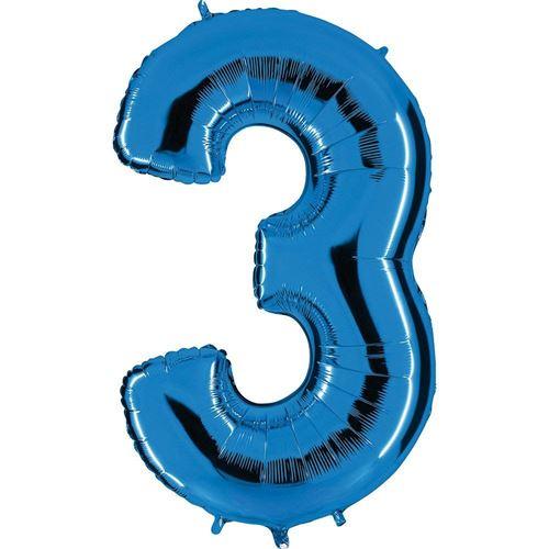 ballon Nombre en bleu - XXL Nombre géant 100cm - pour anniversaire anniversaire & Co - NEUF - fête cadeau décoration Ballon feuille ballon à gonfler Joyeux Anniversaire - Nombre 3, 100cm