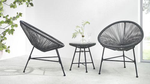 BOBOCHIC Pinto - Salon de jardin 2 places - design oeuf - acier et ...