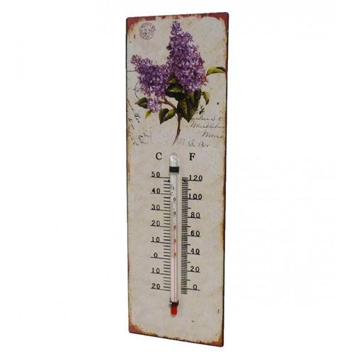 L'Héritier Du Temps - Thermomètre mural décoratif en celsius ou farenheit ou à poser motif 'floral' en fer et papier vernis 0,5x8x25cm