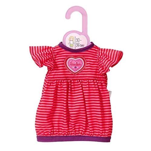 Habit poupee 30-36 cm : robe a rayure rose et rouge - zapf za11