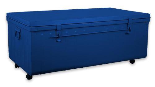 Pierre Henry - Table basse malle en métal Bleu primaire