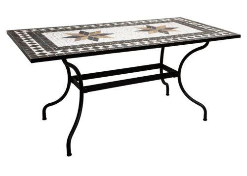 Table de repas en mosaique coloris noir - L. 160 x l. 90 x H. 75 cm -PEGANE-