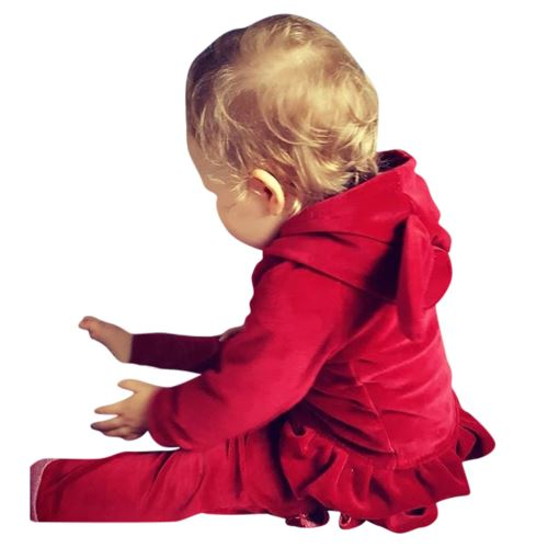 Enfant Tout-Petit Bébé Cartoon Manches Longues à Capuche Hauts + Ruffle Pantalons Tenues Set YEZB289