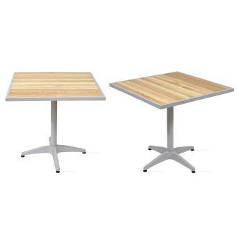 Table de jardin carrée bois et aluminium - Marron - Mobilier ...