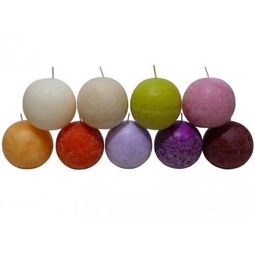 Bougie de Cire Forme Boule Parfumée Fruitée ou Florale pour Photophores ou à Poser 8,75x8,75x8,75cm