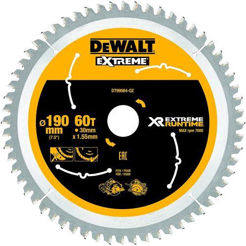 DeWalt XR Extreme Runtime Lame de scie circulaire scie circulaire à main, 1 pièce, 190/30 mm 60 WZ/FZ, dt99564 de QZ