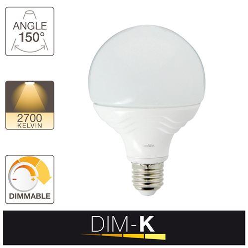 Xanlite|Ampoule LED G95, culot E27, 13,5W cons. (75W eq.), lumière blanc chaud, dimmable par switch 10% - 50% -100%|SE75BDS