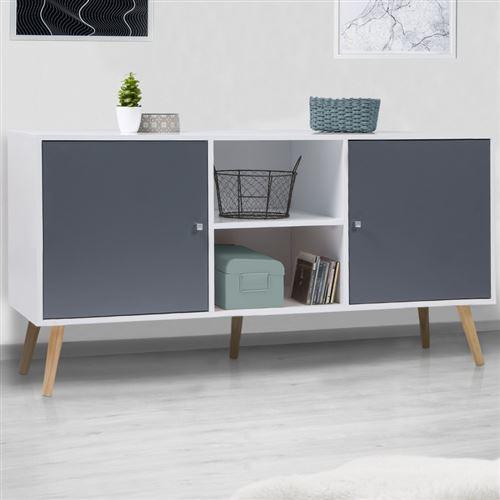 Buffet Effie scandinave 2 portes bois blanc et gris