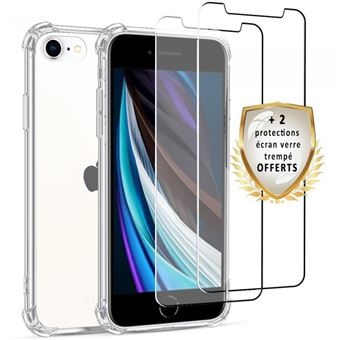 Coque pour iPhone SE 2020 Antichoc Silicone 2 Vitres en verre trempé [Evetane®]
