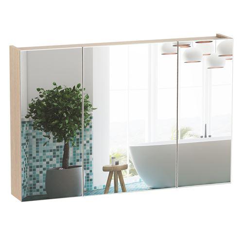 Armoire murale miroir salle de bain 3 portes 3 étagères dim. 90L x 14l x 60H cm panneaux particules chêne clair