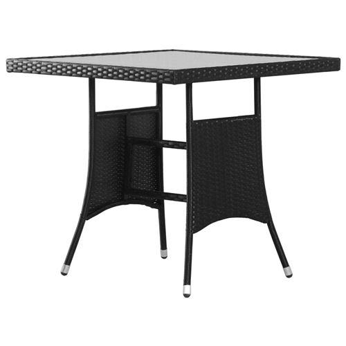 Table de jardin Noir 80x80x74 cm Résine tressée