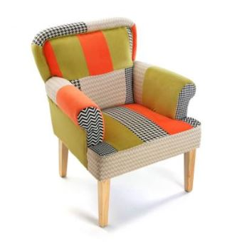 fauteuil voltaire patchwork orange et vert en tissu achat prix fnac - Prix Fauteuil Voltaire