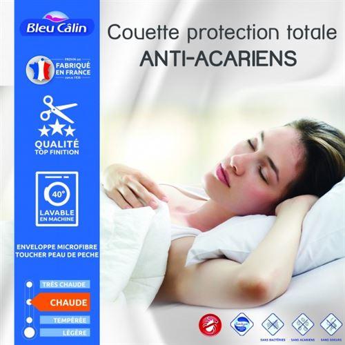 Couette protection totale anti acariens 400 gr/m² 140 x 200 cm pour lit 1 place 90 x 190 cm