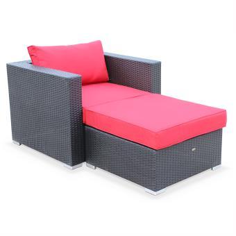 Salon de jardin Genova, fauteuil + pouf en résine tressée Noir ...