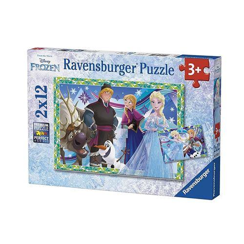 Puzzles 2 x 12 pièces Ravensburger Jeux d'hiver Disney Frozen La Reine des Neiges