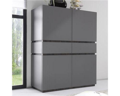 Buffet haut design 4 portes 2 tiroirs gris VALERONA - L 123 x P 51 X H 155 cm