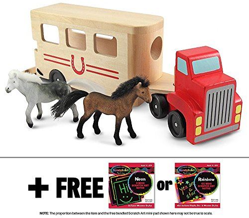 Wooden Horse Carrier Toy + FREE Melissa Doug Scratch Art Mini-Pad Bundle [40976]