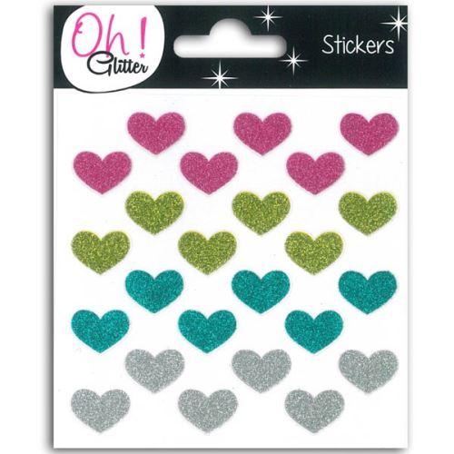 Stickers Coeurs à paillettes - multicolores