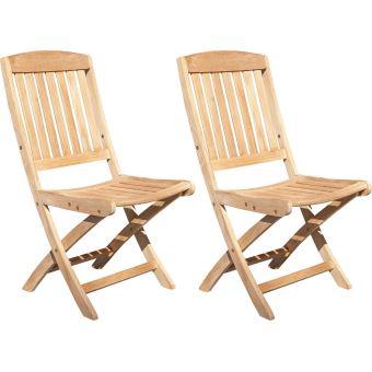 Proloisirs - Chaises pliantes en teck Macon (Lot de 2) - Mobilier de ...
